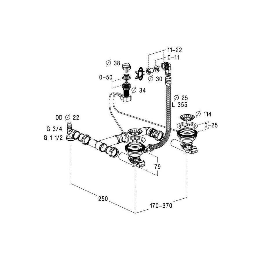vidage complet automatique chrom pour vier 2 cuves 0204115. Black Bedroom Furniture Sets. Home Design Ideas