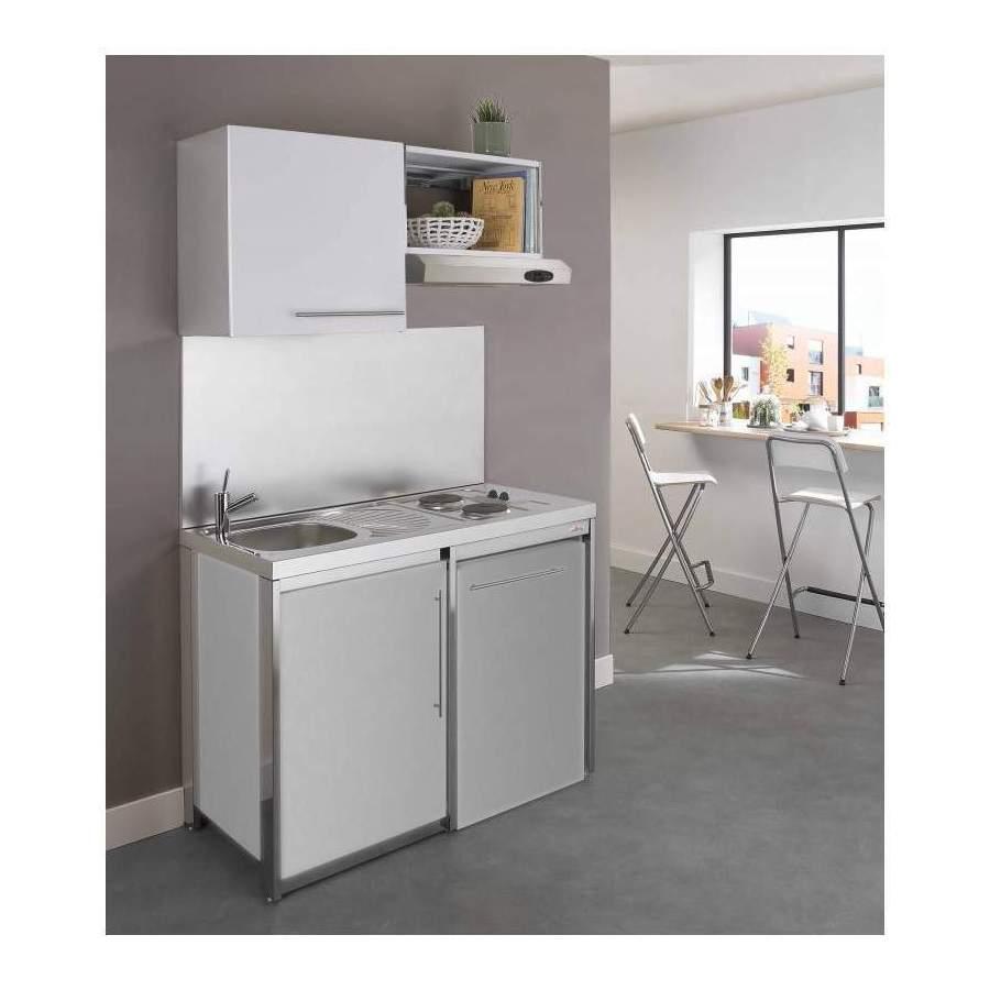 Cuisinette avec plaque et r frig rateur metalline 120cm thermolaqu aluminium - Plaque en aluminium pour cuisine ...