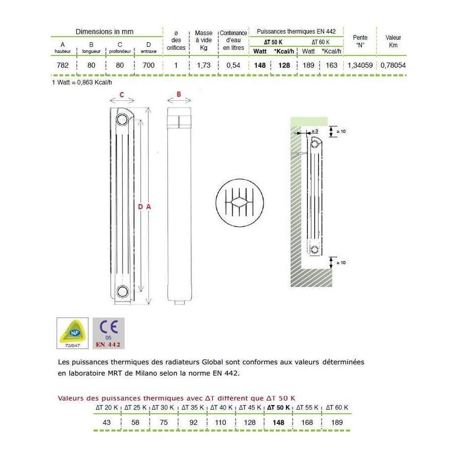 Chauffage Central Fonte Aluminium 7 /él/éments Blanc KLASS 700 Global