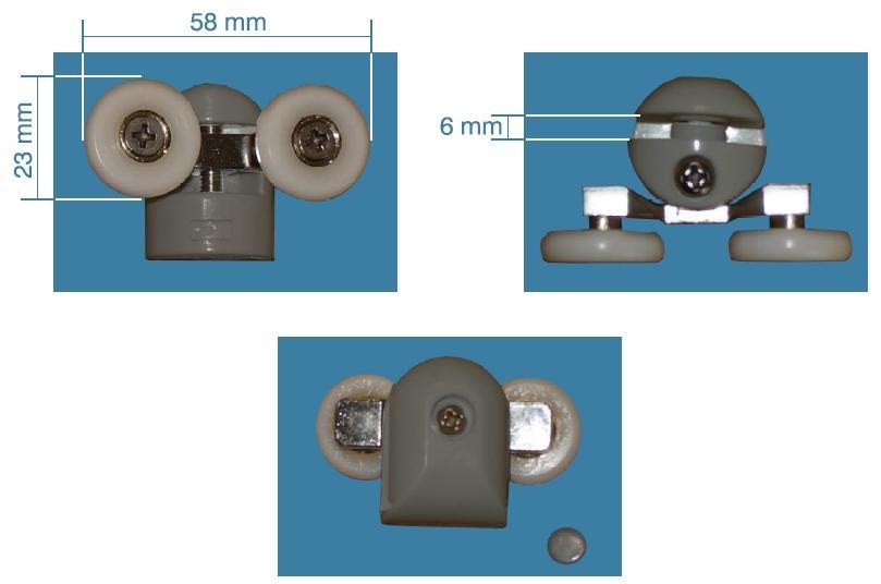 Double Roulette Rou19 Pour Verre 6mm D 23mm L 58mm Avec Support Gris